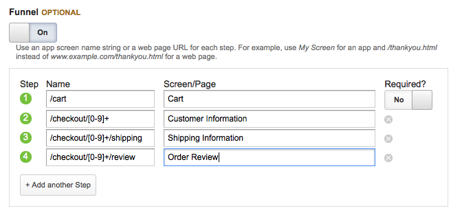 Creating a Conversion Goal in Google Analytics for Drupal Commerce - Step 6d