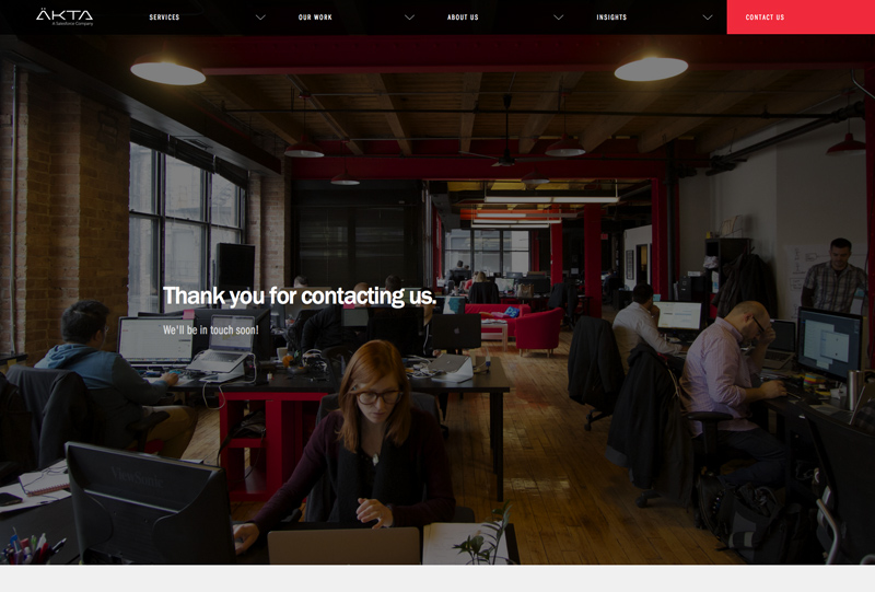 AKTA Top Chicago Web Design Firm - Thank You Page Screenshot