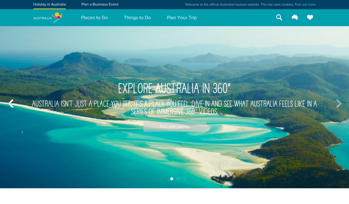 Australia - Top Travel & Tourism Website Design Example
