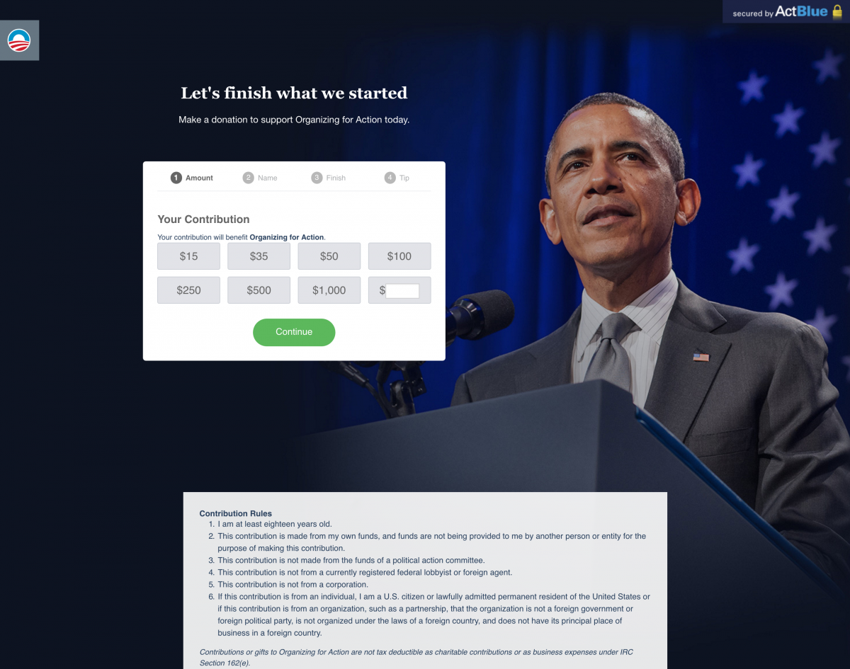 BarackObama.com - Great Not For Profit Donation Page Example