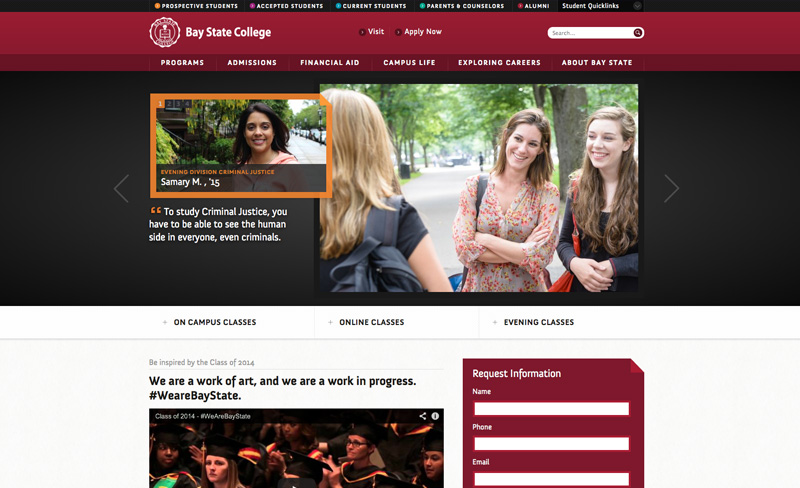Bay State College   Top Higher Ed Web Design Example