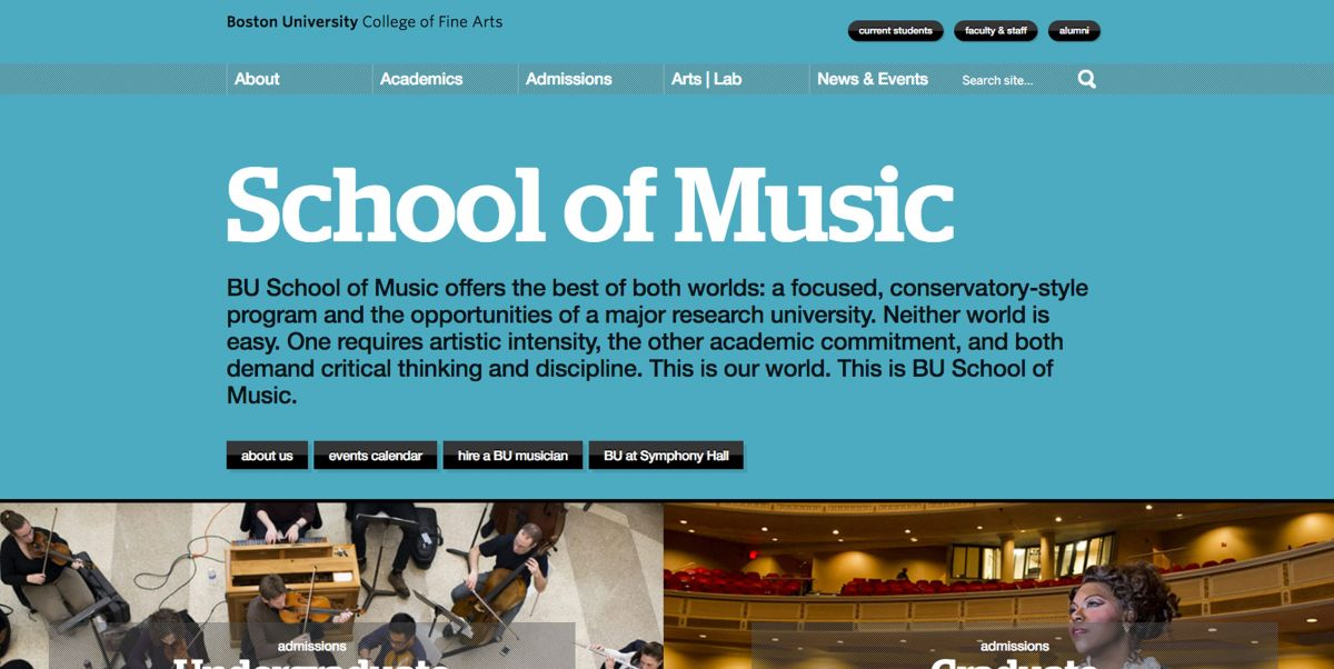 Boston University's College of Music Online Application Experience