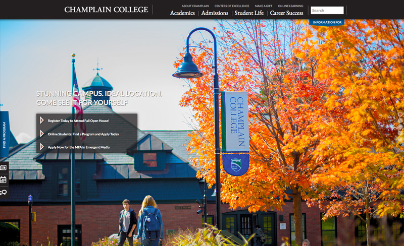 Champlain College - Top Higher Ed Web Design Example