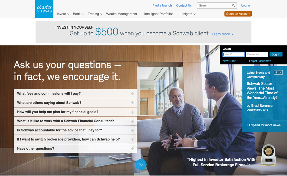 Charles Schwab Financial Company & Drupal Banking Website Example