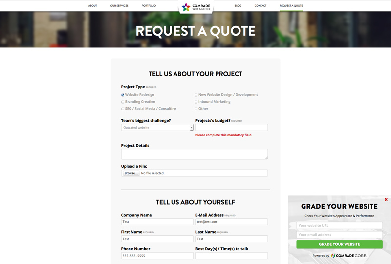 Comrade Top Chicago Web Design Firm - Contact Page Screenshot