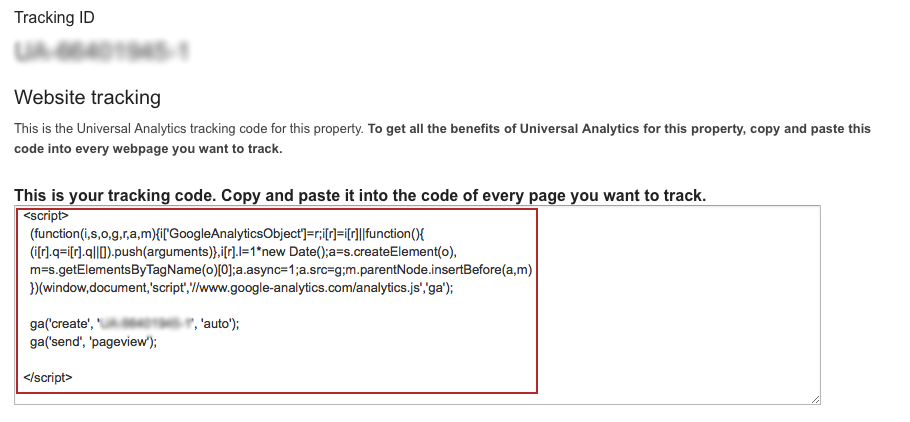 Copy & Paste The Google Analytics Tracking ID Code on to all Pages You Wish to Track