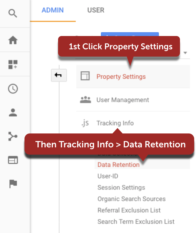 Google Analytics Property Level Settings for Data Retention Contols
