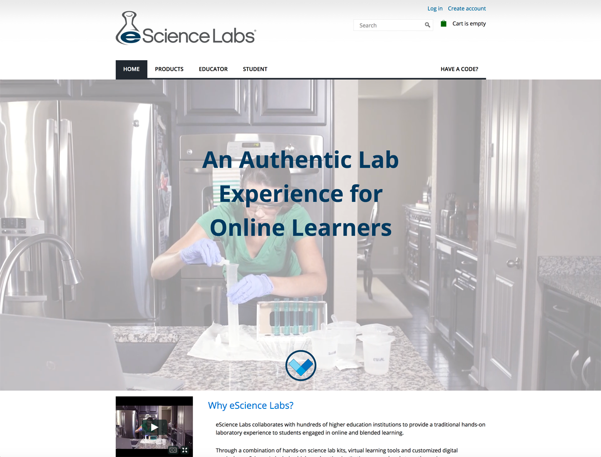 eScience Labs eLearning website built with Drupal