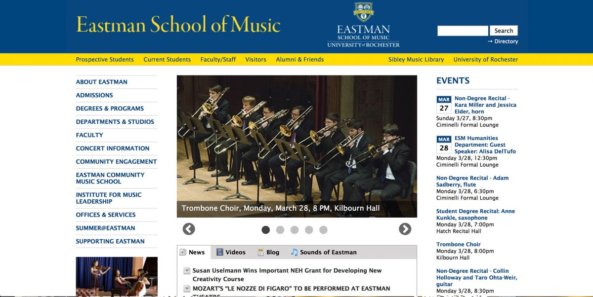 Eastman College of Music Online Application Experience