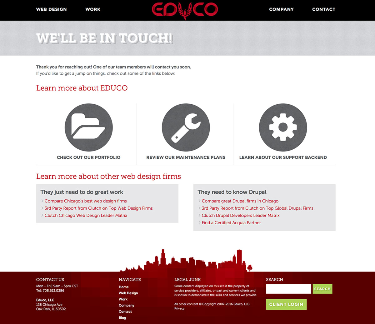 EDUCO: Best Chicago Web Design Firm with a Well Designed Lead Generation Contact Thank You Page
