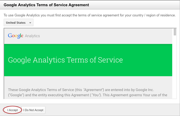 Accepting Google Analytics Terms of Service