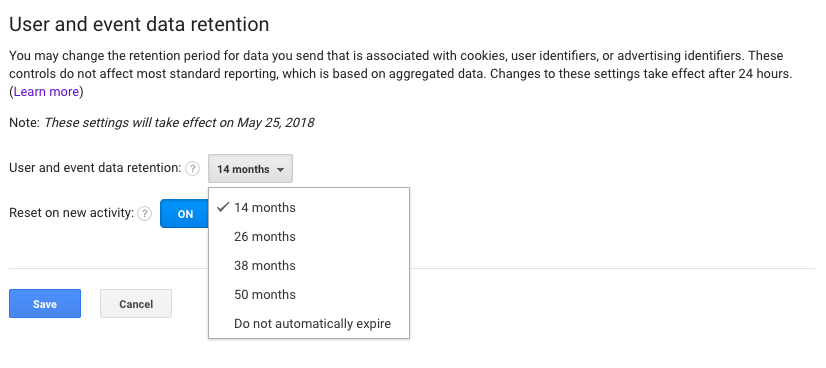 Google Analytics Data Retention Controls & Duration Settings