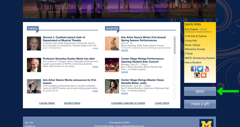 University of Michigan's School of Music Application Experience - Step 2 - Homepage Cont'd