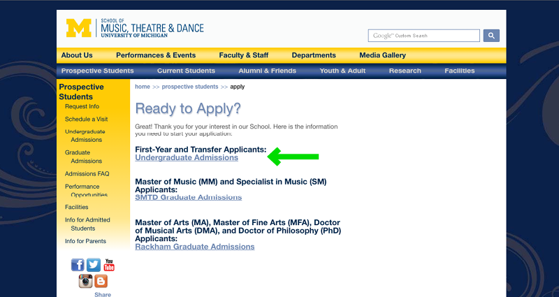 University of Michigan's School of Music Application Experience - Step 3 - Prospective Students Page
