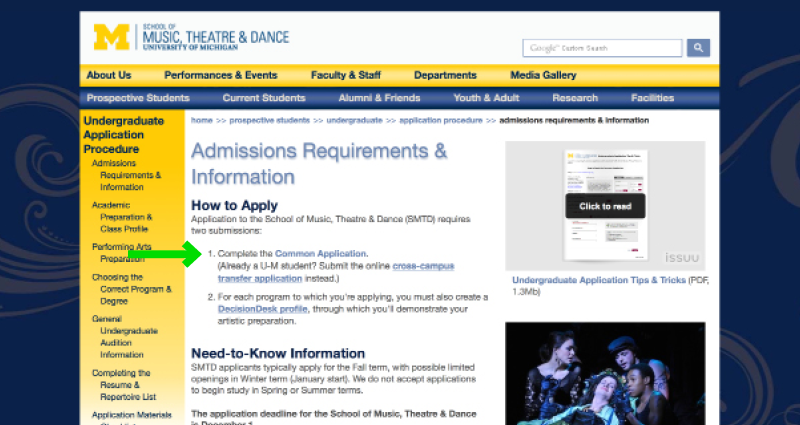 University of Michigan's School of Music Application Experience - Step 5 - Prospective Students Admissions Requirements Page