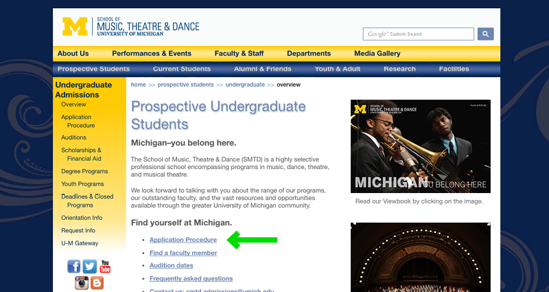 University of Michigan's School of Music Application Experience - Step 4 - Prospective Students Admissions Page