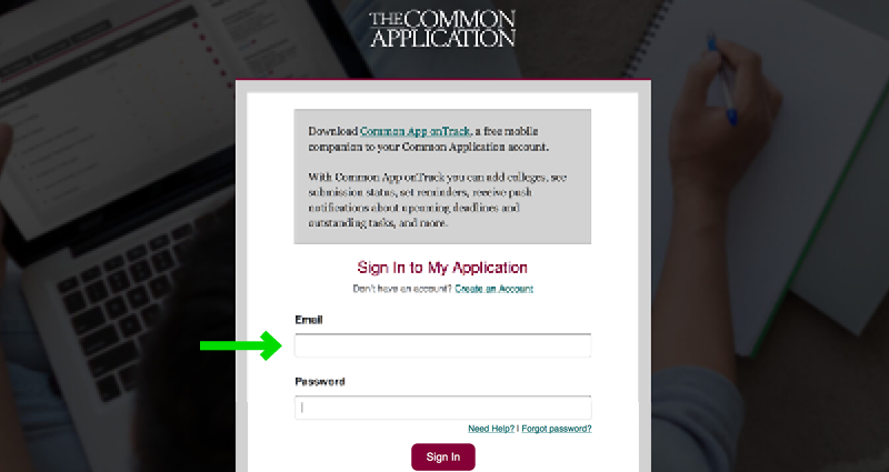 University of Michigan's School of Music Application Experience - Step 6 - The Common Application Sign-In Page