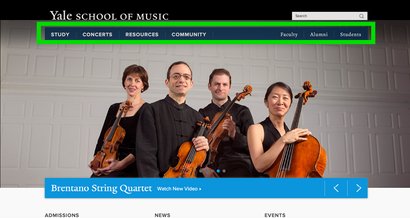 Yale School of Music Application Experience - Step 1a Home Page