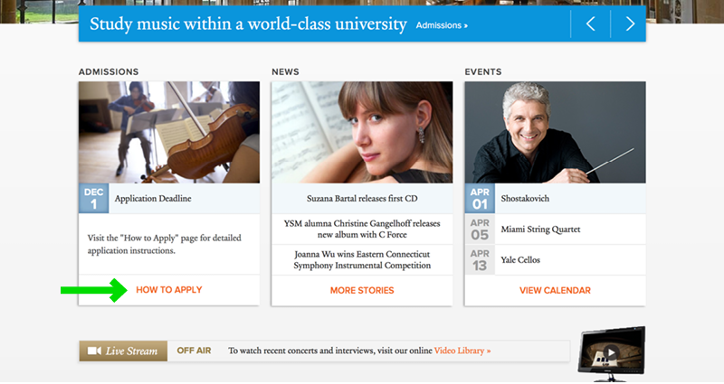 Yale School of Music Application Experience - Step 1b Home Page