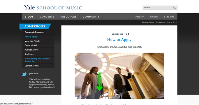 Yale School of Music Website Application Experience - Step 2a Admissions Page