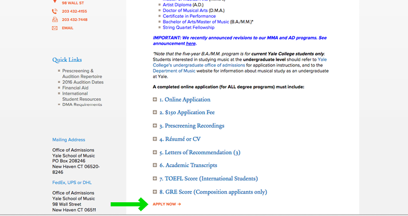 Yale School of Music Website Application Experience - Step 2b Admissions Page