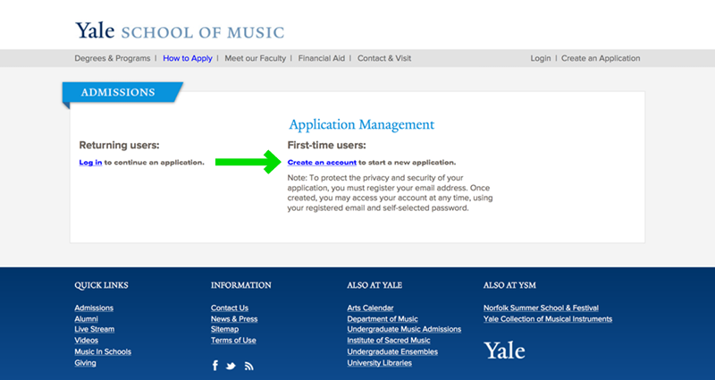 Yale School of Music Website Application Experience - Step 3 Account Creation