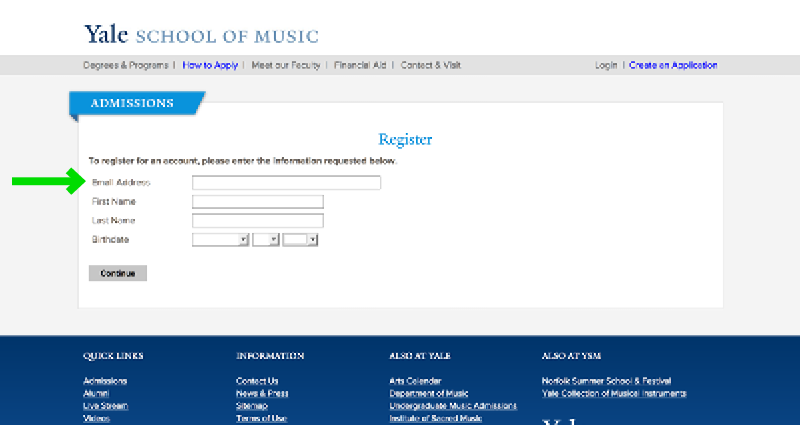 Yale School of Music Website Application Experience - Step 4 Account Creation