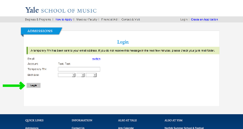 Yale School of Music Website Application Experience - Step 5 Account Confirmation