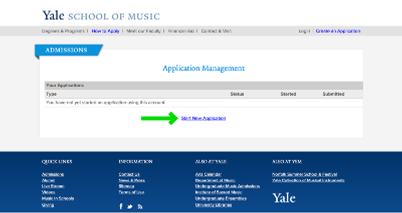 Yale School of Music Online Application Experience - Step 6 Start Application