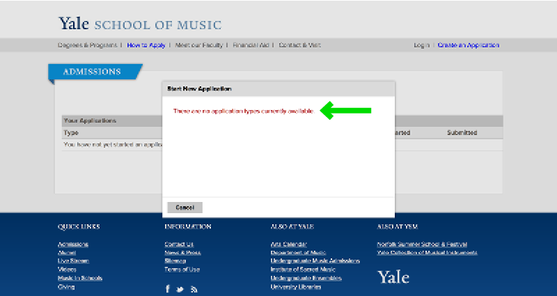 Yale School of Music Online Application Experience - Step 7 Application Fail