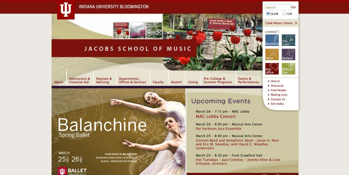 Indiana University Jacobs College of Music Online Application Experience