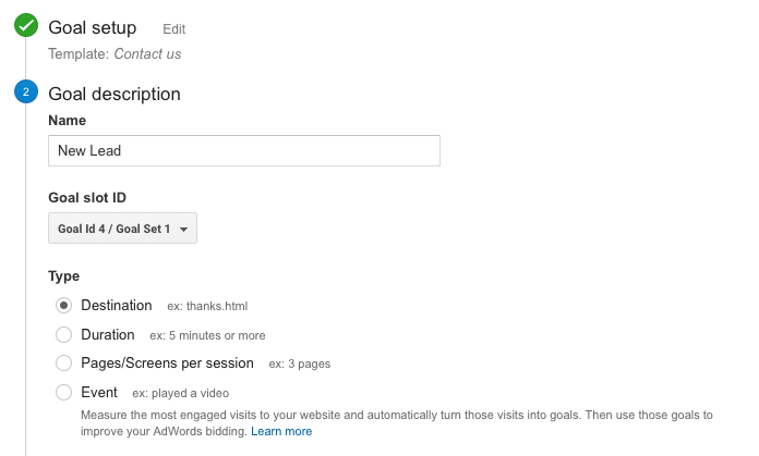 Creating a Lead Conversion Goal in Google Analytics - Step 5 Goal Description