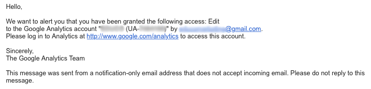 Managing User Roles & Permissions in Google Analytics - Sample email Notice from Google