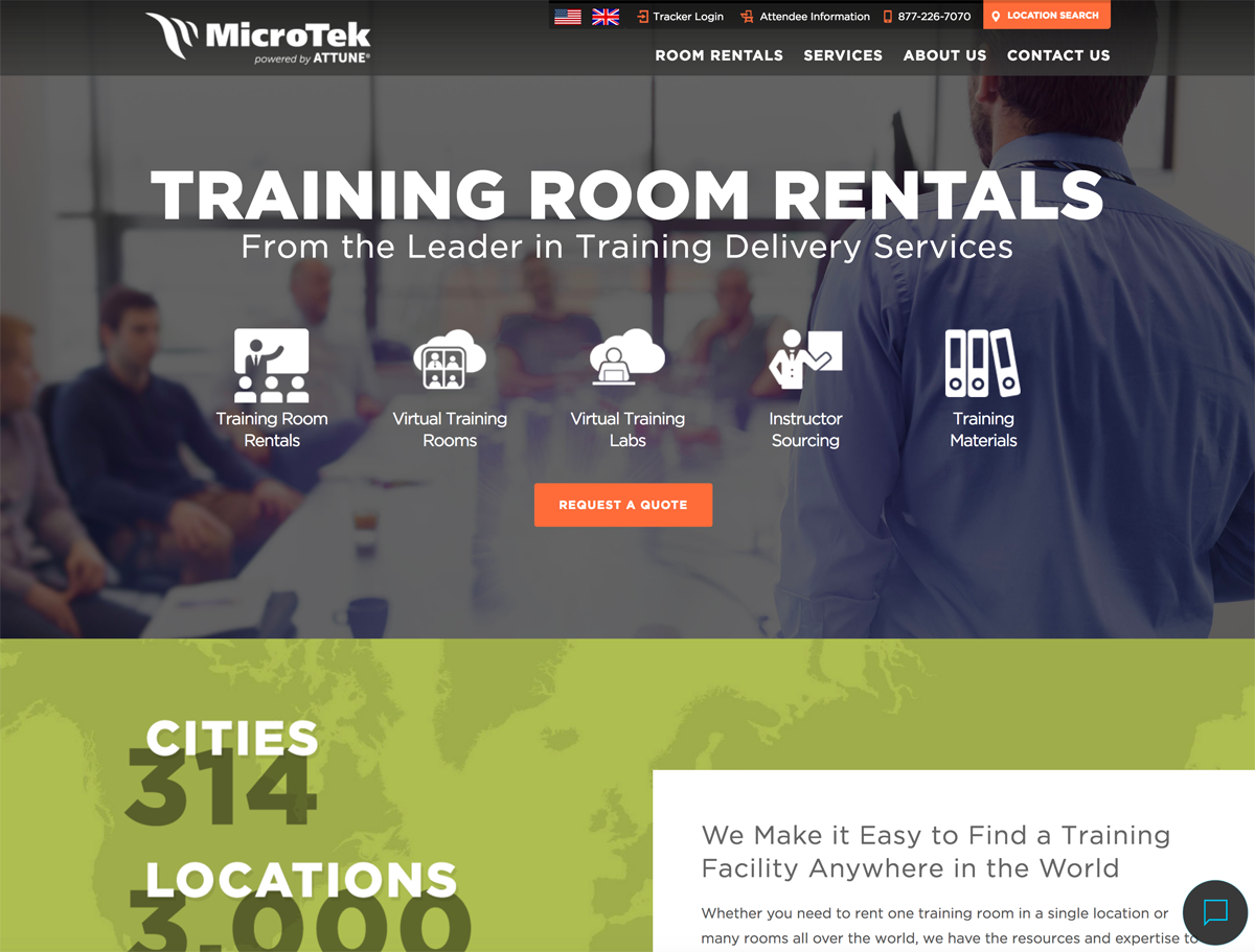 MicroTek eLearning website built with Drupal