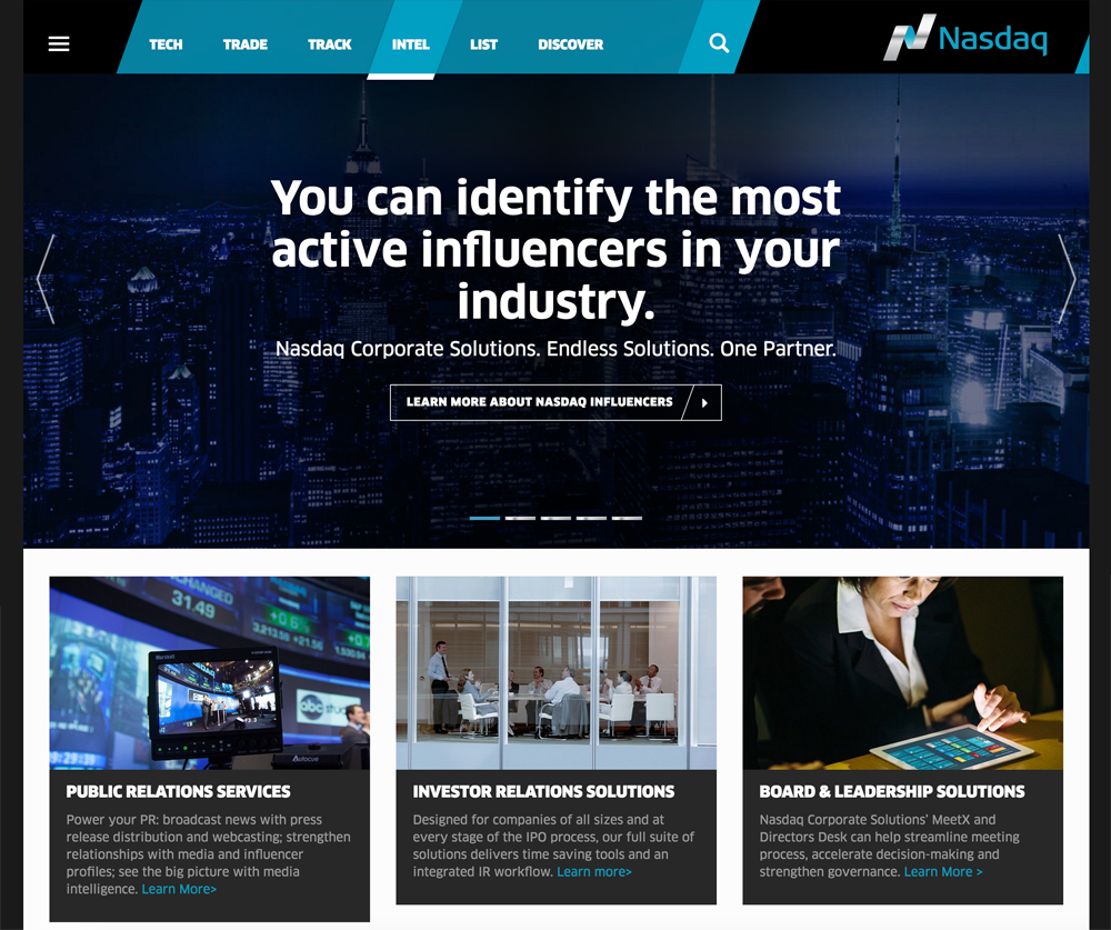 Nasdaq American Stock Echange and Financial Drupal Website Example