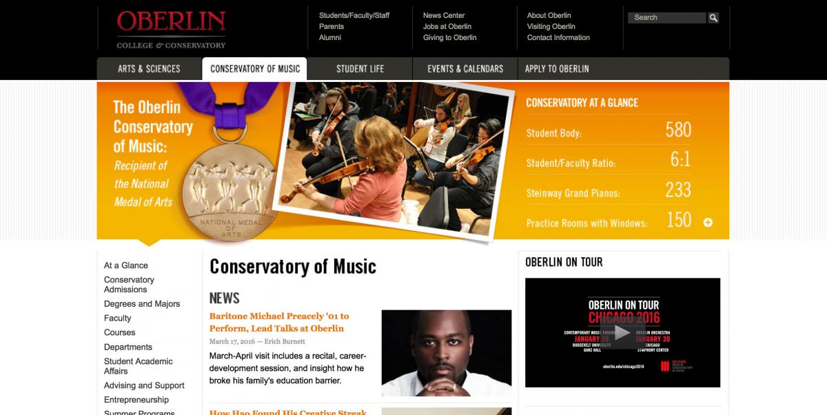 Oberlin College Conservatory of Music Online Application Experience