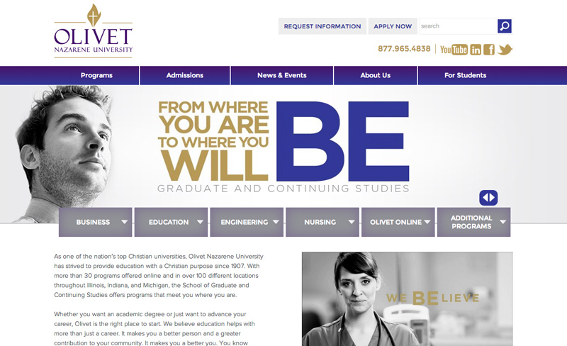 Olivet Nazarene University - Popular Education Site Using Drupal