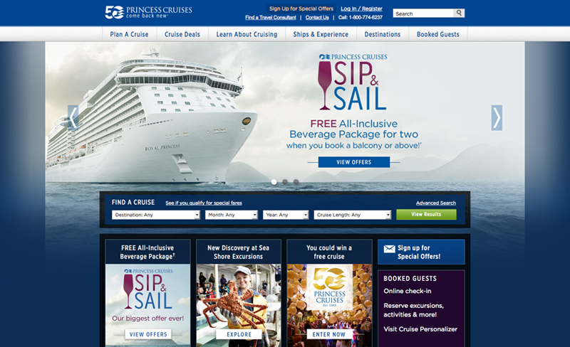 Princess Cruises - Top Travel & Tourism Website Design Example Using Drupal