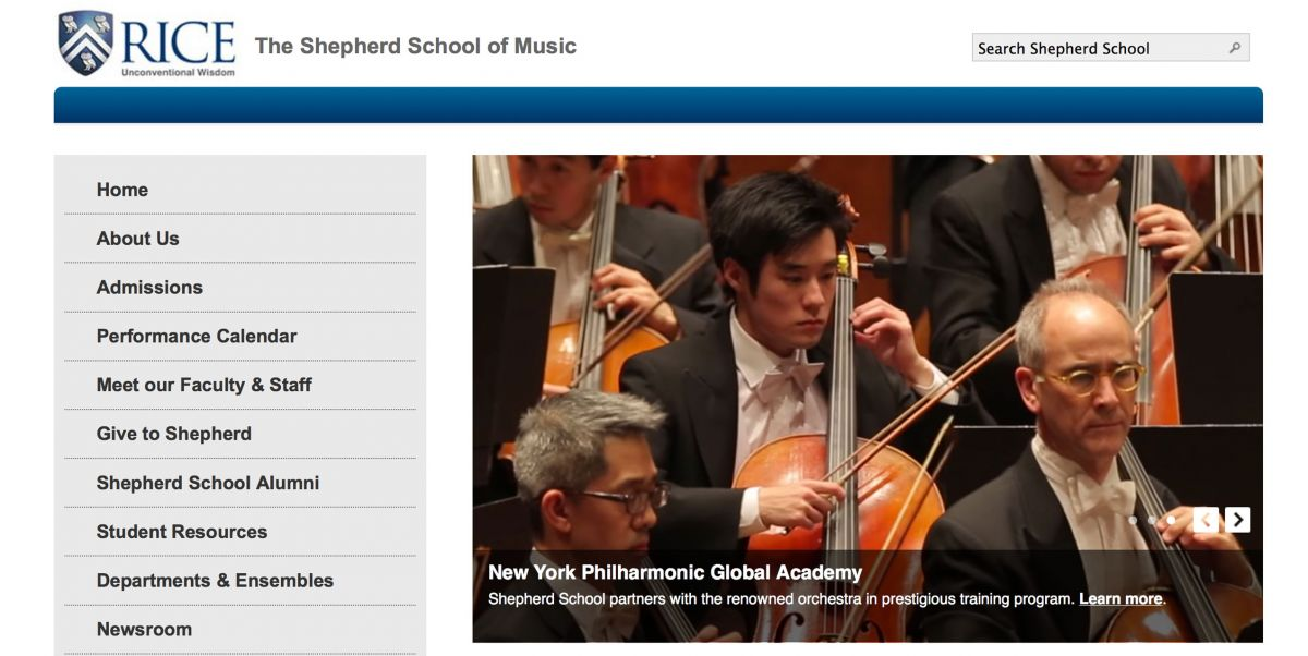 Rice University Shepherd College of Music Online Application Experience