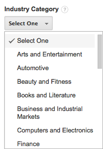 Select Your Industry Category Google Analytics