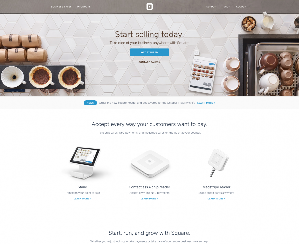 Square - Well Designed Lead Generation Contact Experience