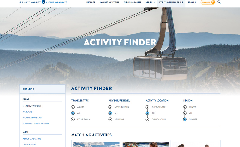Squaw Valley - Top Travel & Tourism Website Design Example Using Drupal