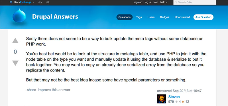 Stack Exchange User Comment - No way to bulk update meta tags in drupal