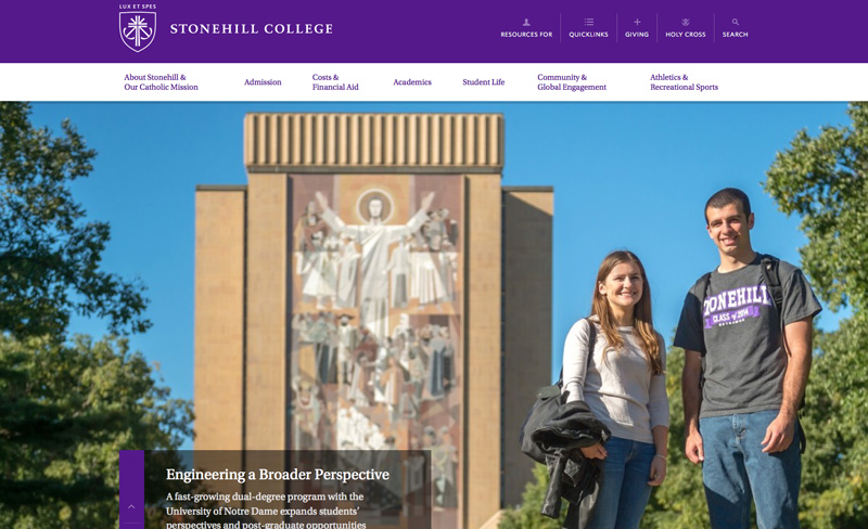 Stonehill College - Top Higher Ed Web Design Example