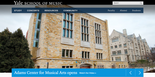 Yale School of Music Website Application Experience