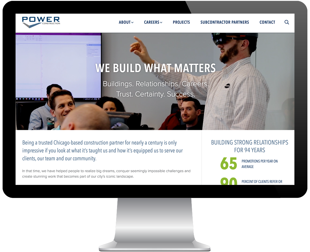 Power Construction Website Redesign Screenshot