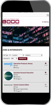 Loyola University Chicago: School of Communications Job Portal Screenshot