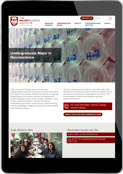 University of Chicago Neuroscience Institute Screenshot