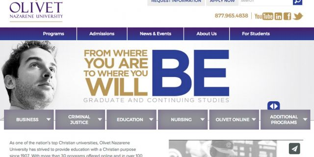 Olivet Nazarene University - College Website Redesign Example