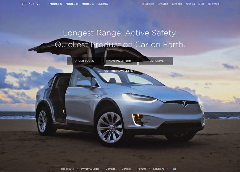 Tesla - Automotive Company Using Drupal For their Marketing Website